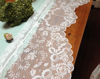 Vintage white shabby chic lace floral valance, cottage lace curtain, floral lace romantic window valance, cottage linens, lace roses,ribbons