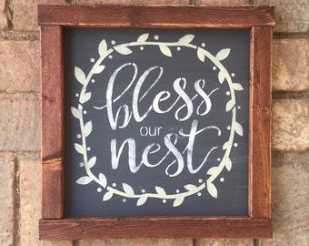 Bless Our Nest rustic farmhouse handmade sign