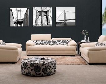 3 piece of Monochrome Canvas work, 20x60 NY birdges