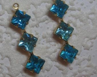 3 Tier 29MM Swarovski Crystal Aquamarine, Faceted Squares 1 Loop Charm Drop