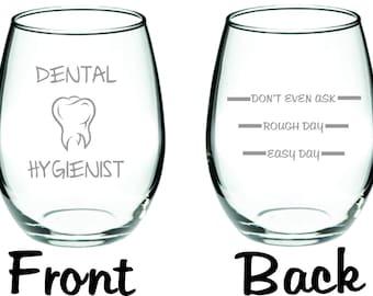 Etched Dental Hygienist Glass  FREE Personalization