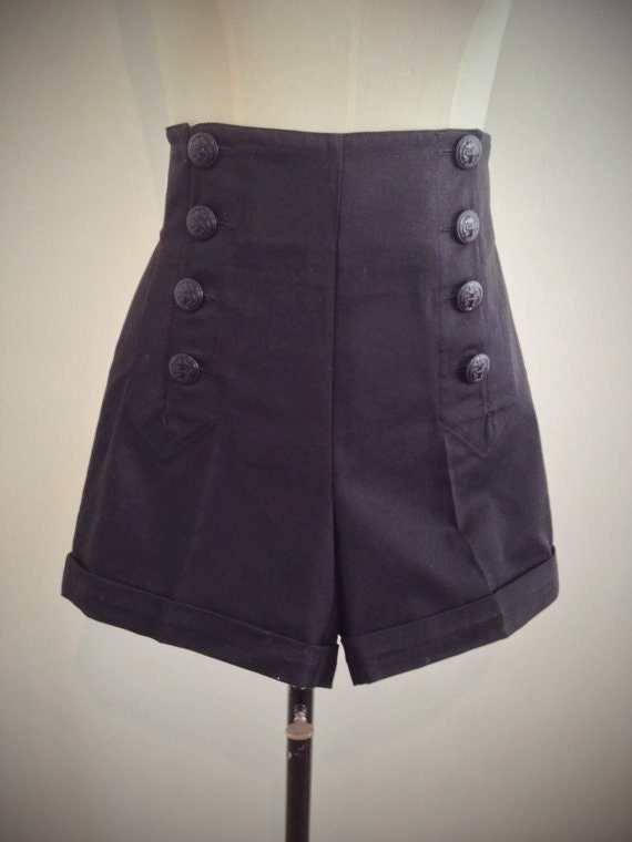 Vintage High Waisted Shorts, Sailor Shorts, Retro Shorts BLACK SAILOR 1940s style swing pants. $80.47 AT vintagedancer.com