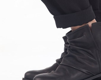 SALE 30% OFF Black slip on boots, Slouch leather boots, Flat booties