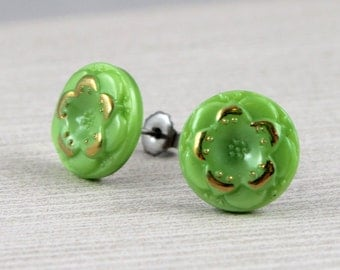Gilded Spring Green Flowers - vintage button post earrings, repurposed jewelry