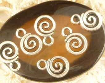 Tiny Spiral Swirl Drop Charms (10) - S3