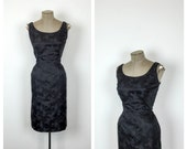 1950s Black Brocade Wiggle Dress • 50s Fitted Formal Sleeveless Cocktail Dress • Sexy Party Dress • Large