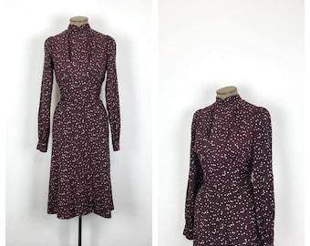 Vintage Plum Polkadot Day Dress • 60s Long Sleeve Polka Dot Sheath Dress • 70s Dress • Large