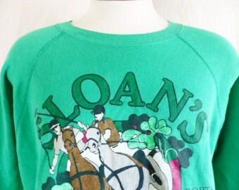 vintage 80's Sloan's Ales Spirits Port & Whiskies Dublin Ireland kelly green fleece graphic sweatshirt raglan horse polo player clover logo