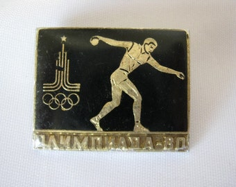 Vintage USSR  Soviet union Moscow olympics games pin badge Throwing