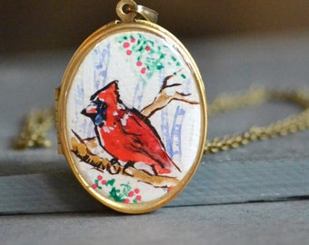 cardinal locket, cardinal jewelry, hand painted