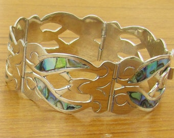 Vintage Mexican Sterling Silver jewelry hand made Mexico 5 hinged panel bracelet with natural abalone shell inlay Hecho en Mexico 925