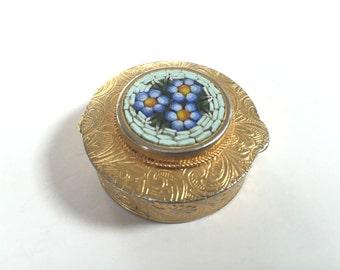 Vintage Micro Mosaic Italian Pill Box - Italy Pill Box - Gold Tone - Floral Daisy - Inlay Lid
