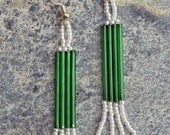 Gorgeous forest green and pearl glass hand beaded drop earrings