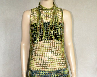 Camouflage Beaded Lace Crochet Top