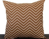 Pillow, Throw Pillow, Pillow Cover, Cushion, Decorative Pillow, Chevron Caramel Brown Cream geometric traditional contemporary modern decor