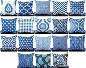 Pillow, Throw Pillow, Pillow Cover, Cushion, Decorative Pillow, Cobalt Marine Blue Navy White geometric modern decor