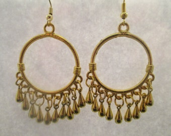 Gold Tone Chandelier Earrings with Gold Tone Tiny Teardrop Dangles