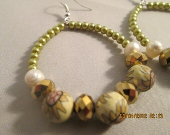 hoop Earrings with White and Green Pearls, Gold Crystal Beads,and TTan and Brown Beads