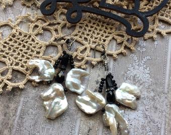 Splendor, vintage pearls, asymmetrical earrings, black spinel, victorian black glass bead, pearl earrings, sterling jewelry, AnvilArtifacts