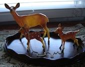 Vintage plastic deer 3 pc set Christmas reindeer home decor holiday Christmas decor tree decor table top decor retro chic