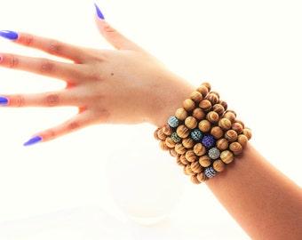 Burlywood Pave Beaded Stackable Bracelets