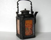 Antique Cast Iron Chinese Tea Pot with 3 Painted Glass Panels, Signed, Footed, Oriental Decor, gift idea