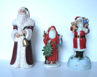 Lot of 3 Porcelain Santa Claus Figurines, Collectible St. Nicolas, Christmas Decoration, gift idea
