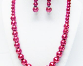 Dark Red Glass Pearl Princess Necklace & Earrings Set