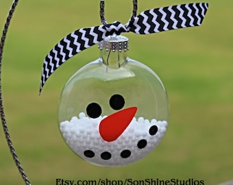 Snowman Glass  Ornament with filler