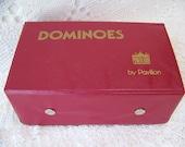 Vintage Dominoes (set of 91) by Pavilion, in Red Vinyl Case.1992.Vintage Bakelite Dominoes.Housewarming Gift.Vintage Games.Vacation Mode.