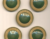 Five Large Vintage Green and Beige Celluloid/Metal Buttons