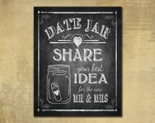 Date Jar PRINTED Wedding sign - chalkboard signage - Share a date idea with the new Mr. & Mrs., Guestbook alternative date jar, rustic heart