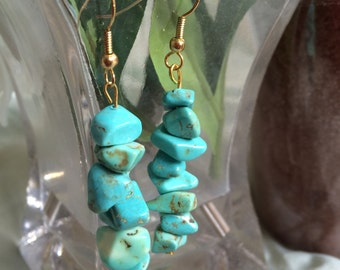 Turquoise Stone Layered Earrings