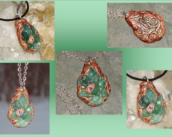 Blue Apatite Necklace Stone Crystal Pendant Necklace Swarovski Crystal Mayan Art Mayan Pendant