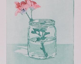 Geranium Etching - Pelargonium Print Botanical Print - Flower in Vase - Original Hand Pulled Print - Geranium Flower Print - FREE SHIPPING