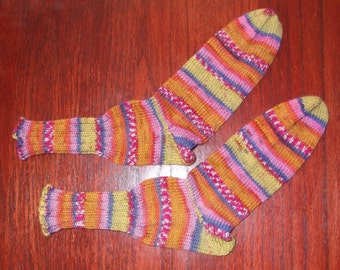 Pink, gold, oranges, green, and blue, fun striped socks! 100% wool hand knit, sport weight socks.