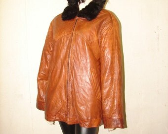 C-62 Vintage Genuine Leather opossum fur coat men jacket