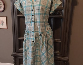 50s Plaid Day Dress with Button Details plus sized