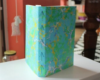 Sunday Market Handmade Blank Book Journal Diary Notebook Sketchbook Hand Bound Marbled Unlined, Travel Journal, Art Journal, Graduation
