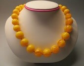 Amber Fashion Necklace Ideal Round 18.0 mm Yellow Color Handmade Pressed Man-Made #110