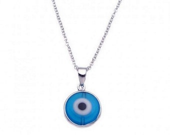 Sterling Silver Rhodium Blue Evil Eye Necklace #40