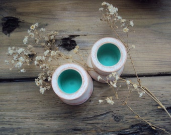 Shabby Spring Candle Cups - Pastel Easter Decor - Distressed Cottage Chic Candle Holders - Small Boho Chic Decoration - Mother's Day Gift