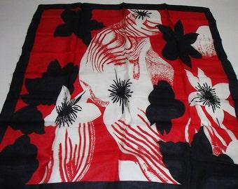 Tajmahal Silk Scarf/ Vintage Silk Scarf/ Red Black White Flower Print/ 1990 VTG Rare