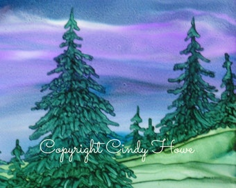 Set of 3 Greeting cards, pine trees,  pines, cards, trees, greeting cards,  alcohol ink art original