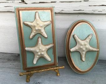 Starfish Art/Seashell Plaque Wall Art Pair/Beach House Decor/Coastal Cottage Chic Art