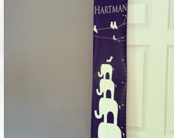 Children's growth chart, Personalized First Birthday gift, Premie size, Writeable, Elephant or animal theme nursery decor