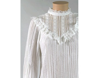 1980 french victorian lace blouse  small  David MAGG paris