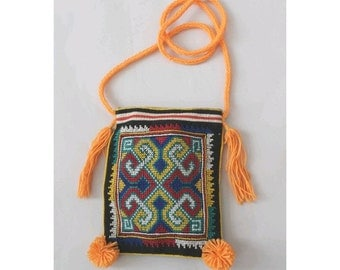 Ethnic small pouch cross stitch and pompoms