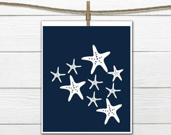 Starfish Print - Nautical Nursery -  Beach Decor  - Your choice of Size and Colors