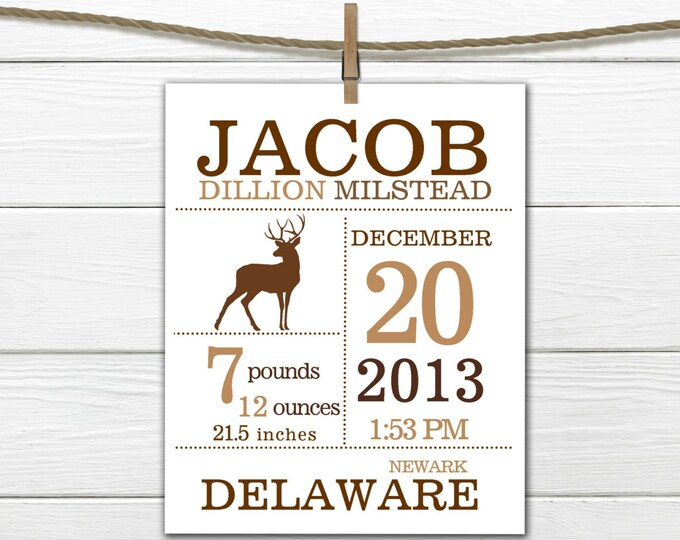 Birth Announcement Print - WOODLAND Themed - Deer Print